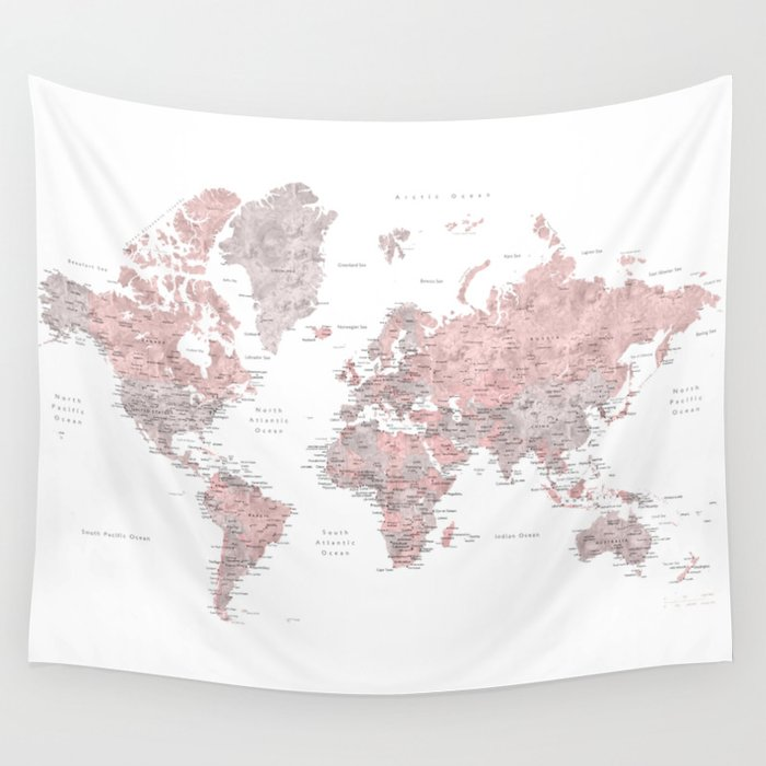 Dusty pink and grey detailed watercolor world map wall tapestry by dusty pink and grey detailed watercolor world map wall tapestry gumiabroncs Choice Image
