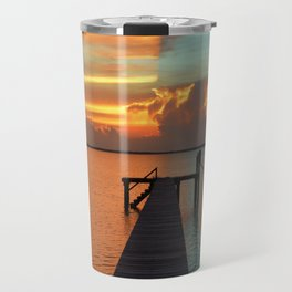 Fire & Ice or Hot & Cold, either describe the Red & Blue colors of the Sunset that split the bay. Travel Mug