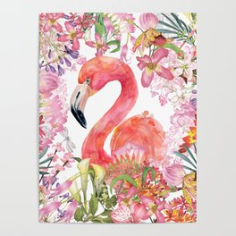 Flamingo in Tropical Flower Jungle Poster