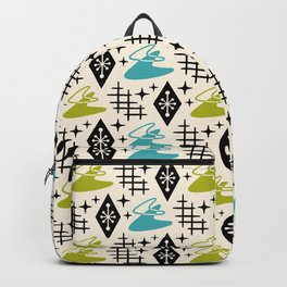 Mid Century Modern Boomerang Abstract Pattern Chartreuse and Turquoise 161 Backpack