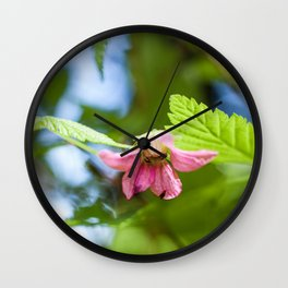 Salmonberry Blossom Photography Print Wall Clock