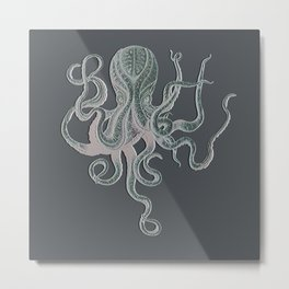 VINTAGE OCTOPUS Negative Grey Metal Print