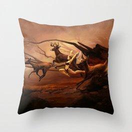 Running Deers Throw Pillow