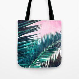 Nostalgic Palm Leaves on Pink #homedecor #buyart Tote Bag