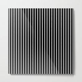 Classic White Pinstripe on White Metal Print