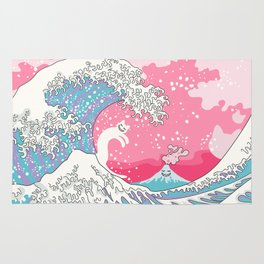 Psychodelic Bubblegum Kunagawa Surfer Cat Rug
