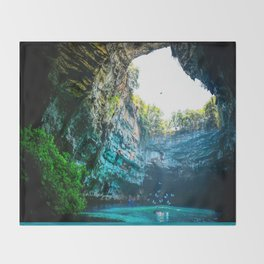 Sea Cave in Greece Throw Blanket