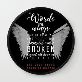 Jaxon Hall, The Mime Order Quote in black, from The Bone Season series by Samantha Shannon Wall Clock
