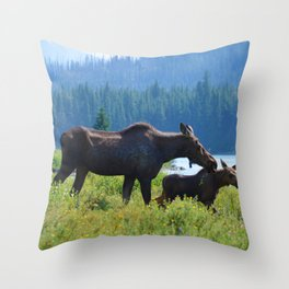 Mother moose & calf at Maligne Lake in Jasper National Park Throw Pillow
