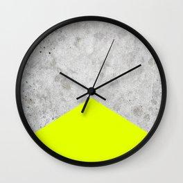 Concrete Arrow - Neon Yellow #521 Wall Clock
