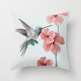 Hummingbird with Hibiscus Throw Pillow