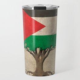 Vintage Tree of Life with Flag of Palestine Travel Mug