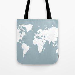 Minimalist World Map in Slate Blue Tote Bag