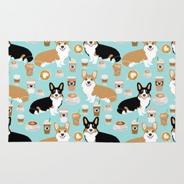 Corgis and coffee pillow phone case corgi gift cute cardigan corgi art Rug