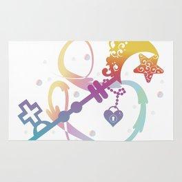 Cute Rainbow Silhouette Heart Moon Key With Locket Rug