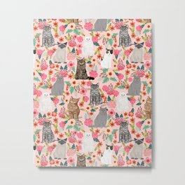 Cat Flowers cute spring summer garden cat lady pattern gift for cat person cat breed pet portraits  Metal Print