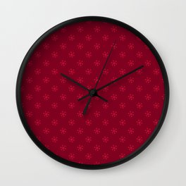 Crimson Red on Burgundy Red Snowflakes Wall Clock