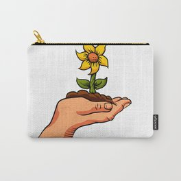 cartoon flower growing in palm of hand Carry-All Pouch