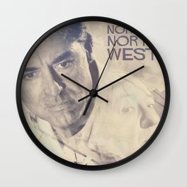 North by Northwest, Alfred Hitchcock, vintage movie poster, Cary Grant, minimalist Wall Clock