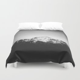 Black and white snowy mountain Duvet Cover