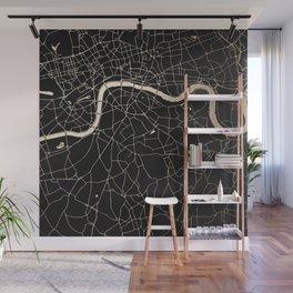London Black on Gold Street Map II Wall Mural