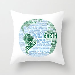 Protect Earth Word Bubble Throw Pillow