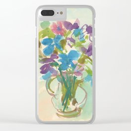 Flowers in glass vase Clear iPhone Case