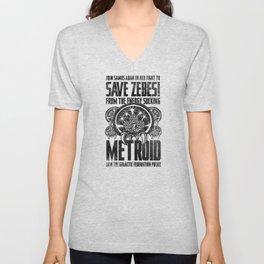 Save Zebes! Metroid Geek Art Vintage Poster Unisex V-Neck