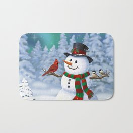 Cute Happy Christmas Snowman with Birds Bath Mat