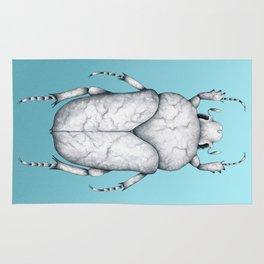 White Marble Beetle on Blue Background Rug