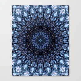 Dark and light blue mandala Canvas Print