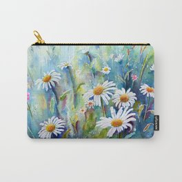 Watercolor Daisy Field Carry-All Pouch