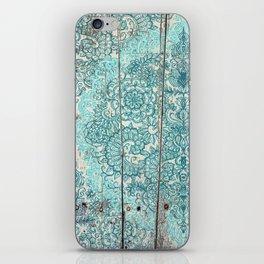 Teal & Aqua Botanical Doodle on Weathered Wood iPhone Skin
