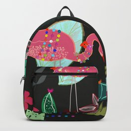 Flamingo and Cactus. Tropical Flowers Pattern Backpack