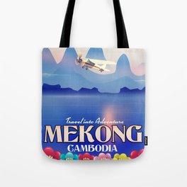 Mekong Cambodia vacation poster. Tote Bag