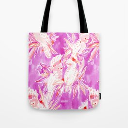 COCKATUDE Pink Cockatoo Watercolor Tote Bag