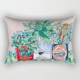 Jungle Botanical in Colorful Cans on Pink - Still Life Rectangular Pillow