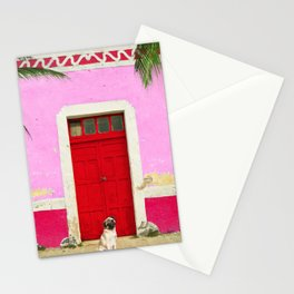 Pugs on Pink Stationery Cards
