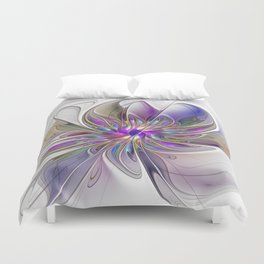Energetic, Abstract And Colorful Fractal Art Flower Duvet Cover