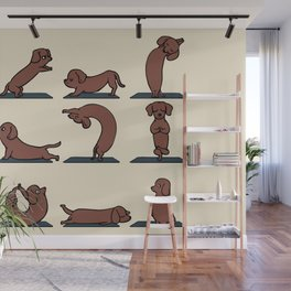 Dachshund yoga Wall Mural