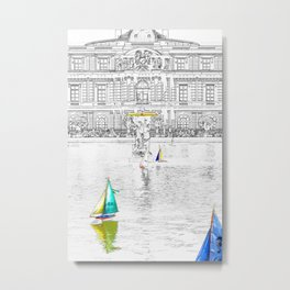 Toys boats in front of the Luxembourg Palace - Paris Metal Print