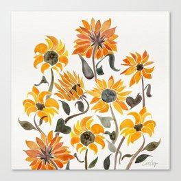 Sunflower Watercolor – Yellow & Black Palette Canvas Print