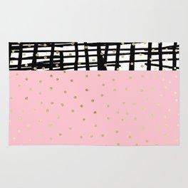 Modern geometrical black pink faux gold polka dots Rug