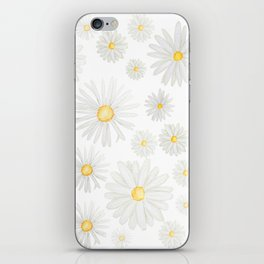 white daisy pattern watercolor iPhone Skin