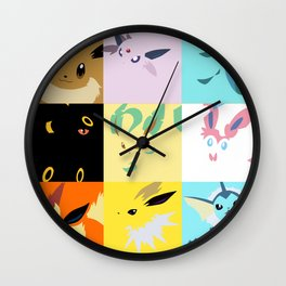 Eevee evolutions square- Eeeveelutions PKMN Wall Clock