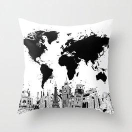 world map city skyline 4 Throw Pillow