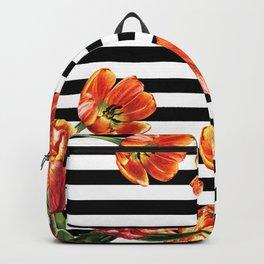 Red Orange Tulips Black Stripes Chic Backpack