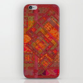 Rose vintage textile patches 02 iPhone Skin