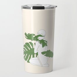 Woman with Monstera Leaves Travel Mug