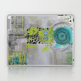 Teal & Lime Round Abstract Art Collage Laptop & iPad Skin